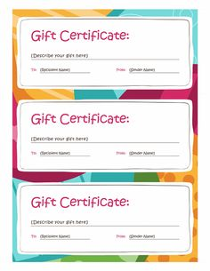 How To Word A Gift Certificate Gift Certificate Template With Blue And Green Background With Green .