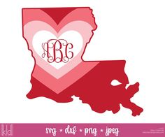 Louisiana  Valentine's Day Monogram Frame SVG File | Kelly Lollar Designs