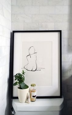 bathroom-styling art Our Teeny Tiny Bathroom Reveal Bathroom Wall Art, Bathroom Interior, Bathroom Ideas, Bathroom Canvas, Bathroom Prints, Bathroom Closet, Budget Bathroom, Tiny Bathrooms, Small Bathroom