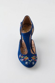 Three things I love, embroidery, blue suede and anything that looks like the twenties.  Songbird Embroidered T-Straps - Anthropologie.com