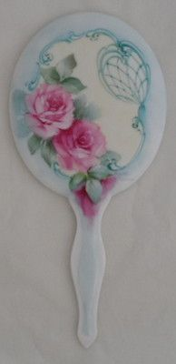 Roses Hand Painted Fancy Porcelain Mirror Scrolling Signed Shabby SHIP Disc | eBay