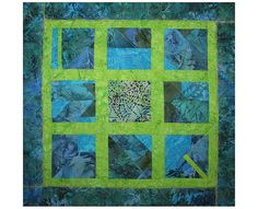 Art Quilt, Fabric Wall Hanging, Blue & Green Fiber Art, Abstract Window Art