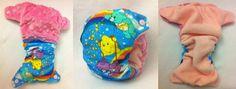 Handmade Retro Care Bear & Dimple Minky Small Pocket Nappy.