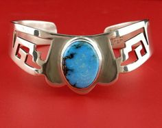 26g. STERLING SILVER 925 TURQUOISE Matrix Stone Mexico Taxco Vintage Heavy Cuff Bracelet