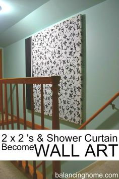 Simple and cheap DIY project to make a large wall hanging. Great for the space above the stairs.