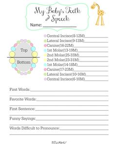Baby's Teeth and Speech Free Printable|AllThatSrocks.com  Another matching free printable to go with the baby book she's making! Yay