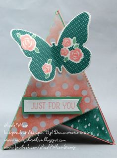 http://www.nicolejuliewilson.blogspot.com.au/ the artful stampers blog hop challenge 58 lost lagoon, mint macron, pink pirouette and blushing bride with hostess stamp Floral wings Teepee / tent card www.facebook.com/NicoleWilsonStamp
