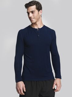 Cory Vines The Neighborhood Henley in Cobalt @Cory Vines #hucksley #henley #menswear #tshirt
