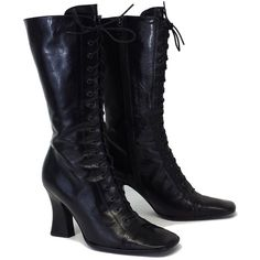 Pre-owned Prada Black Leather Lace Up Mid-Calf Boots ($299) ❤ liked on Polyvore featuring shoes, boots, mid-calf boots, mid-calf lace up boots, vintage boots, lace up high heel boots and vintage leather boots