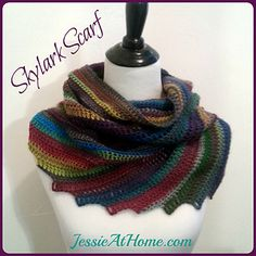 Skylark is not your typical scarf. It is made at an angle, a little off kilter, and a little wider than most scarves. There is a diagonal stripe of contrasting color every several rows. Skylark is sure to get attention wherever you go!