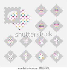 Template of Easter gift tags. Grey isolated layer on top individualized with a cut out easter silhouettes of egg, hare,  butterfly, cross. Bottom layer contains different patterns on white background