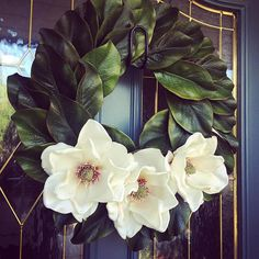 20 Magnolia Wreath with Flowers Medium Custom