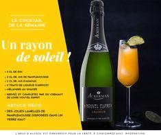 Un cocktail à base de Crémant de Loire ou de Saumur Brut, Pamplemousse, ananas et abricot ! Gin, Saumur, Liqueur, Cocktails, Drinks, Loire, Champagne, Bottle, Grapefruit Juice