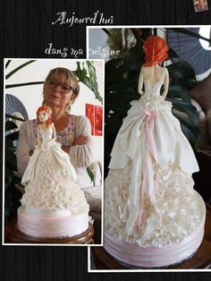 Wedding Dress Cake, Princess Wedding Dresses, Dolly Varden Cake, Fashionista Cake, 80 Birthday Cake, Wedding Cake Cookies, Dolly Dress, Brides Cake, Amazing Wedding Cakes