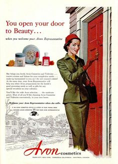 Avon Vintage Ad...do NOT open your door...it could be a burglar wearing women's clothing and carrying a gun in the so called Avon Product Purse...LOCK YOUR DOORS...let's be honest. Do you really want to look like this?