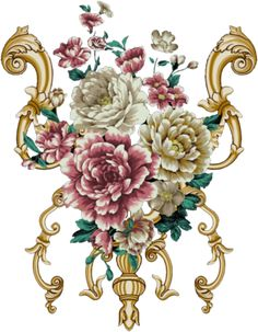 Flower Art Images, Baroque Art, Design Seeds, Bunch Of Flowers, Album Design, Border Design, Pattern Art, Watercolor Flowers, Flower Patterns