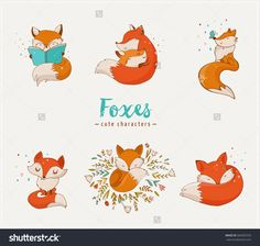 Fox characters, cute, lovely illustrations