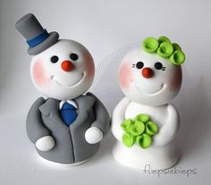 Snowman Couple Cake Topper