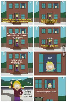 butters make goofy face south park South Park Quotes, South Park Funny, South Park Memes, Butters South Park, Trey Parker, Goofy Face, Goin Down, Creek South Park, South Park Fanart