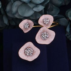 GODKI Luxury Big Delicate Luxury Gemoetric Flower lotus leaf Cubic Zirconia Party Wedding Saudi Arabic Dubai Bangle Ring Set Review Leaf Jewelry, India Jewelry, Stone Jewelry, Jewelry Sets, Fancy Jewellery, Stylish Jewelry, Fashion Jewelry, Chanel Jewelry, Jewelery