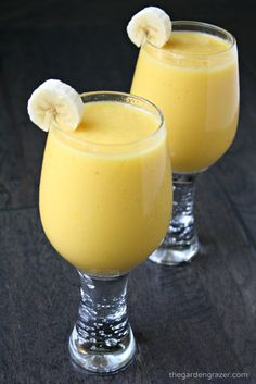 This sweet, slightly creamy smoothie with banana, mango, and pineapple will transport your mind to a relaxing tropical island! (vegan, gluten-free)