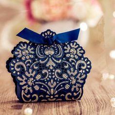 boite drages dentelle bleu royal x 10 - Boite A Dragee Mariage