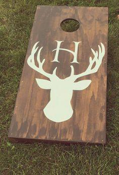 Wedding cornhole!! Deer antler monogram rustic outdoor barn wedding lawn game