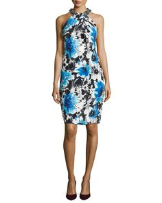 T9D6F Carmen Marc Valvo Floral Cocktail Dress with Beaded Halter