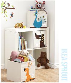 Alweer zo'n leuk voorbeeld dat IKEA het nog steeds prima doet in de kinderkamer. Als je een eenvoudige vakkenkast van IKEA (hier staat hij ook in de kinderkamer!) mixed and matched met de organische opbergdozen van 3 Sprouts krijg je een nieuwe look voor de slaapka