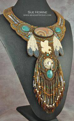 BoneEagle with Flower Tube Onyx and Chrysocolla Bead by sedonaskye