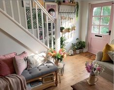 A gorgeous bright summer country cottage hallway inspiration with a bright pink front door! Our Oh Hello spotty door fits perfectly in this gorgeous cottage hallway. This spotty beauty has caught the eyes of many this summer, our oh hello spotty design has been a huge summer hit with our customers. This gorgeous design will do the greeting for you and will brighten up your front porch or entrance hall, what more could you ask for! #countrycottage #pinkfrontdoor #pinkcottage #hallway…