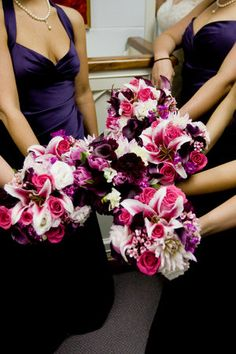 Flowers, Pink, Bridesmaids, Purple, Dresses, Roberts and co
