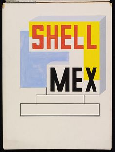 The design shows the layout of type and a typeface for the words 'SHELL MEX'. Made on the 7th of March, 1934, it is for one of a number of alternative versions of an advertisement for Shell Mex lubricatiing oil. Edward McKnight Kauffer is widely recognized as a leading innovator in graphic design in 1930s Britain, and many consider him to have been the greatest poster designer of the first half of the 20th century. V&A Museum, London, England.