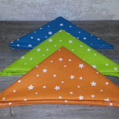 Lot de 3 mouchoirs en tissu doublé, 100% coton motifs étoiles