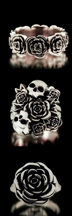 Skull and Roses Rings from Twisted Love  Crafted in solid 925 sterling silver, our Skull Bouquet Ring is another addition to our Santa Muerte Collection that represents  will not disappoint! This piece was inspired from the famous Dia De los Metros (Day of the Dead) and also pays tribute to those loved ones that are not with us anymore