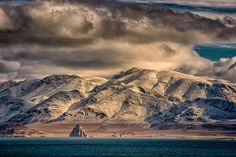 A light storm has coated the hills around Pyramid Lake at the end of January 2014.  The area is a tribal reservations of the Paiute, who manage recreation and fish populations of the lake.