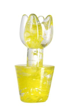 Flower Power sculpture yellow, design by Ulrica Hydman Vallien for Kosta Boda Shops, Kosta Boda, Unusual Art, Crystal Design, Hurricane Glass, Blue Yellow, Flower Power, Scandinavian, Glass Art