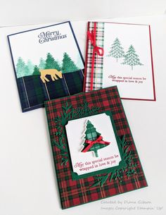 I made these easy CAS Christmas cards using the new Perfectly Plaid stamp set and Wrapped in Plaid DSP. I think these cards would be wonderful for a Stamp-A-Stack or card buffet later this fall. Christmas Pop, Cas Christmas Cards, Stampin Up Christmas, Holiday Cards, Christmas 2019, Christmas Crafts, Handmade Christmas Decorations, Stamping Up Cards, Diy Weihnachten