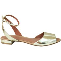 Madison Harding Jessie Metallic Flat Sandal ($165) ❤ liked on Polyvore