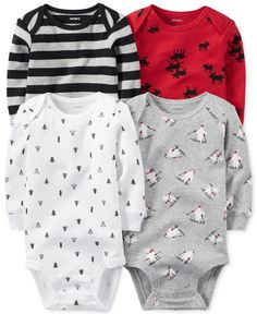 Carter's Baby Boys' 4-Pk. Long-Sleeve Holiday Bodysuits