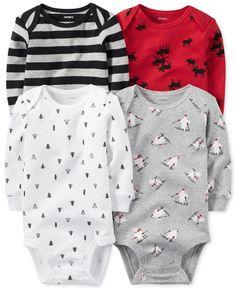 Carter's Baby Boys' 4-Pk. Long-Sleeve Holiday Bodysuits