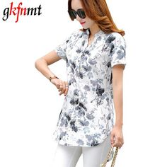 80ab1162925 gkfnmt 2017 Women Tops XXXL Summer Style Floral Print Cotton Linen Shirts  Woman Vintage Short Sleeve