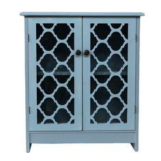 Light Blue Glass 2-Door Moroccan Wood Cabinet