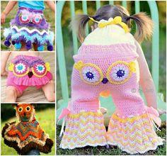 Girls Crochet Owl Pants Skirt Poncho Free Pattern