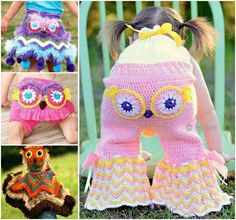 crochet crochet crochet Girls Crochet Owl Pants Skirt Poncho not Free Pattern