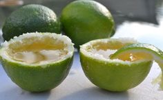 Tequilla shots in limes! Pinning this for summer time—or Cinco de Mayo
