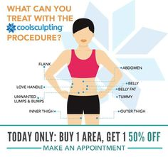 TODAY ONLY: Buy one area of CoolSculpting and get one 50% off!   Note: This discount may be used more than once (i.e. you can apply to any multiple of 2 areas). Cannot be combined with different package discounts or other promotions.  CoolSculpting is a nonsurgical and noninvasive way to reduce unwanted fat and improve the overall shape of your body. It involves no scars or recovery period, plus it only takes one hour so it can be done over your lunch break!