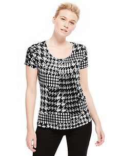 7 Pleat Dogtooth Print Top | M&S