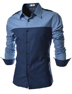 (EVS37-NAVY) Slim Fit 2 Tone Denim Patched Long Sleeve Shirts