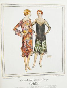 Chiffon print dresses from 1926 Womans Home Companion. Illustration by John LaGatta #1920Fashion #1920sDresses #flappers